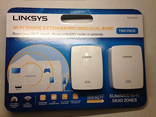 Linksys Wi-Fi Range Extender Pro N600 Dual Band RE4000W White 2-Pac (Renewed)
