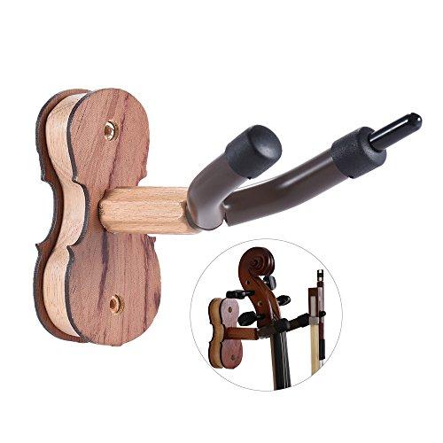 ammoon - Soporte de pared para arco de violín, para casa y el estudio, barra de madera dura y sujeciones, palisandro