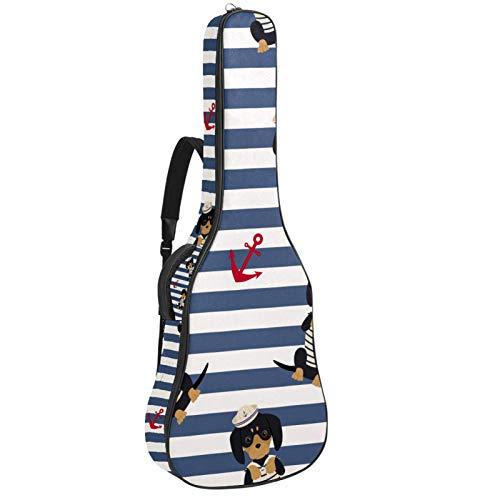 Bolsa de guitarra impermeable con cremallera suave para guitarra, bajo, acústico y clásico, para guitarra eléctrica, para cachorros, marinero, anclajes de rayas marineras