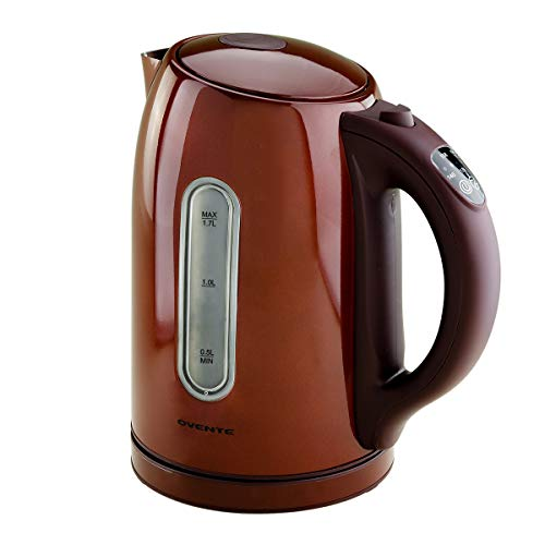 Ovente Electric Kettle 1.7 Liter with 5 Preset Temperature Settings, 1100 Watts Fast Heating Element, Keep Warm Function Perfect for Tea, Coffee, Hot Beverages and More, Brown (KS89BR)