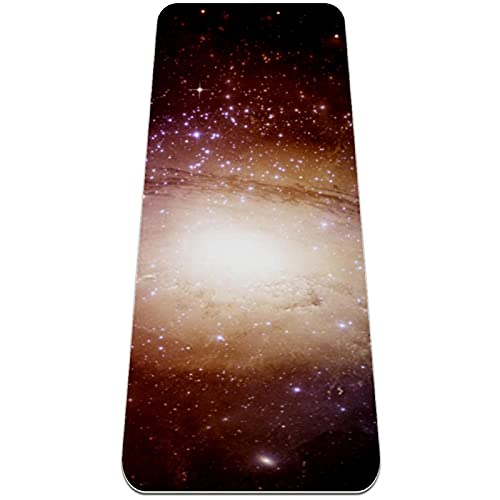 Estrellas planetas galaxia espacio libre, esterilla de gimnasia multiusos, ideal para pilates, sentadillas, estiramientos, push-ups, gimnasio en casa, accesorios 183 x 61 x 0,6 cm