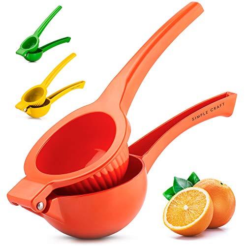 Simple Craft Lemon Squeezer - Premium Single Bowl Citrus Juicer - Handheld Manual Lemon Juicer Saves Time & Effort (Orange)