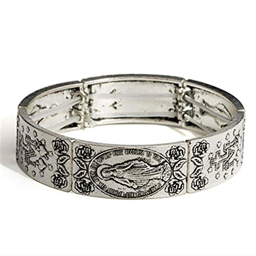 Vintage Elastic Womens Armreif Antik Silber Farbe Kreuz Jungfrau Maria Rosenkranz Armreif \\U0026 Armband Für Frauen \\U0026 Männer Christian Armband