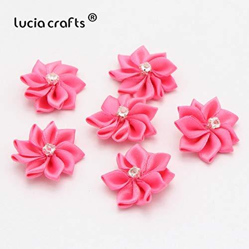 Lot de 24 nœuds en polyester Rose/blanc 28 mm - Rosette - Fleurs faites à la main - Accessoires de coiffure pour bricolage - 012004014 As Shown in the Picture Color 12 Rose red