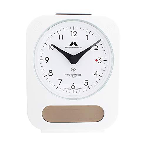 Uhren Maufaktur Schwarzwald Funk-Solar-Wecker Solar-unterstützt - lädt den integrierten Akku für eine längere Laufzeit – Made in Germany – Flüsterleises Uhrwerk, einfache Bedienung. (Weiß)