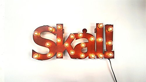 Skal Cheers in Viking marquee lighted sign made out of rusted metal