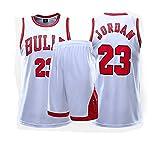 Fei Fei Chicago Bulls #23 Michael Jordan Camiseta de Baloncesto para Hombres Retro Chaleco de Gimnasia Top Y Pantalones Conjunto Sport Deportivo Jerseys,Blanco,L