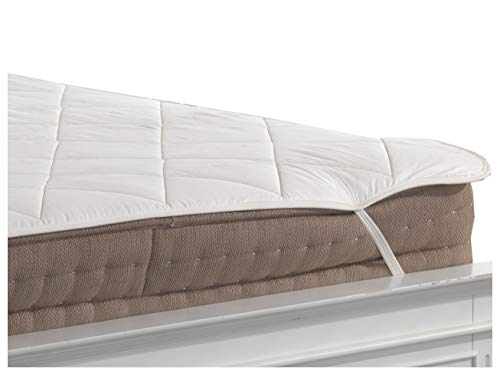 Lancashire Textiles Single Size Bed All Year Around Wool Filled 100% Breathable Cotton Cover Luxurious Mattress Protector with Elasticated Straps - Slight Second