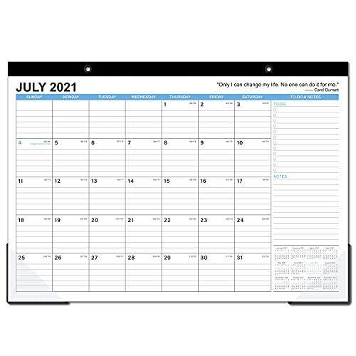 """2021-2022 Desk Calendar - 18 Months Large Monthly Desk Calendar, July 2021 - December 2022, 17"""" x 12"""", Desk Pad, Large Ruled Blocks, To-do List & Notes, Best Desk Calendar for Organizing"""
