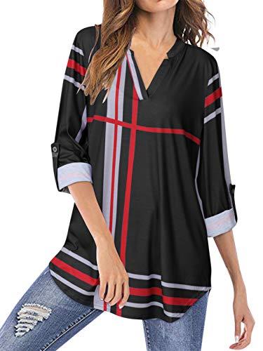 YOINS Camicia Donna Elegante Camicetta Donna Manica Lunga Bluse Camicie a Quadri Blusa Scollo V Casuale Nero XXL