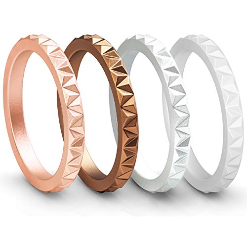 ThunderFit Womens Triangle Diamond Stackable Rings