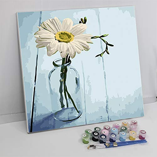 """Framed Paint by Number Color Angel DIY Oil Acrylic Paint by Numbers for Kids Sized 12""""X16"""" Painting on Canvas with Frame for Home Decoration(White Flower)"""