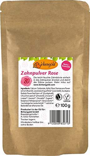 Birkengold Recharge de poudre de dentifrice rose - 100 g - Protège l'émail dentaire - Ingrédients 100 % naturels - Sans mousse ni conservateurs - Cosmétique naturel - Végétalien