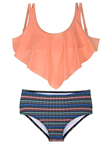 Hilor Girl's Bikini Set Crop Flounce Two Piece Swimsuits Kids High Waisted Flowy Swimwear Orange 5-6 Years