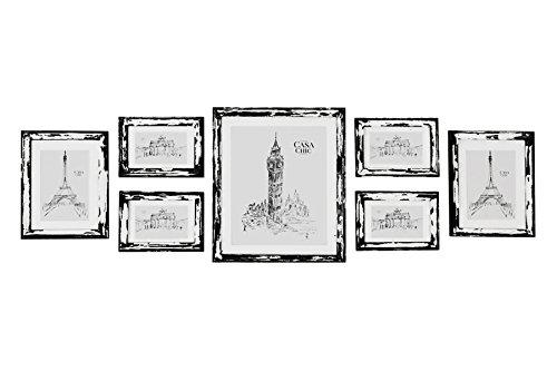 Conjunto de 7 Marcos para Pared Estilo Vintage con Paspartú para Foto - Shabby Chic Originales - Madera de Pino - Anchura del Marco 2 cm - Frente de Vidrio - Color Negro y Blanco