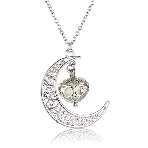 #N/A Growrak - Collar con colgante de luna hueca con forma de corazón fluorescente, collar con colgante de pareja