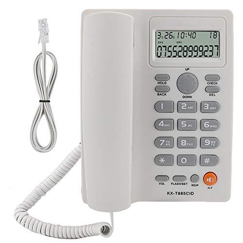 Teléfono con Cable, teléfono con Altavoz, teléfono Fijo Identificador de Llamadas Llamadas con Manos Libres Oficina en el Hotel Teléfono Fijo en inglés(Blanco)