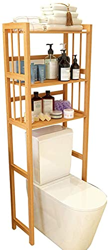 ZHBD 3 Tier Toilet Storage Rack, Space Saver Bathroom Washing Machine Shelf, Solid Core Bamboo Organizer Stand for Kitchen Laundry Room Living Room.