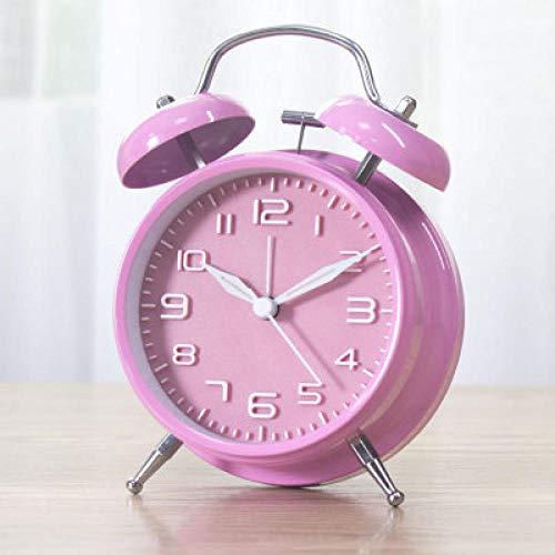 FPRW Mechanische Super Sound wekker, Double Bell Metal Simple Tafelklok, Artefakt met Snooze wakker worden, Pink