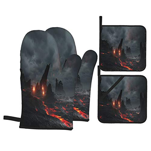 RUEMAT Oven Mitts and Pot Holders 4pcs Set,3d Rendering Prehistoric Lava Environment,Heat Resistant Non-Slip Kitchen Mitten Cooking Gloves for Kitchen,Cooking,Baking,BBQ