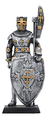 """Ebros Gift Renaissance Medieval Crusader Knight with Bardiche Pole Axe and Large Shield Figurine 5"""" H Suit of Armor Dollhouse Miniature Knights Sculpture Decor Holy Roman Empire War Soldier Statue"""
