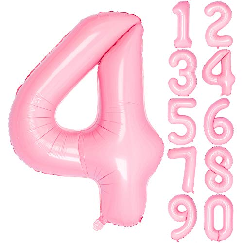 40 Inch Pink Numbers 0-9 Birthday Party Decorations Helium Foil Mylar Number Balloon (Digitale 4, Tiffany Pink)