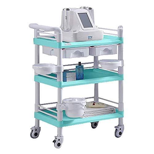 Allamp Sombrilla Heavy Duty utilidad médica Carro con cajón y de la suciedad Buckrt, Portátil salón de belleza del balanceo de la carretilla for el Hospital Clínica Dental, Capacidad 100-150kg (Color: