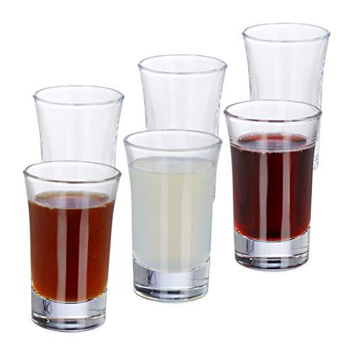 Relaxdays 6er Set Schnapsgläser, Pinnchen aus Glas, 4 cl, für Liköre, Kaffee, Karneval, spülmaschinenfest, transparent