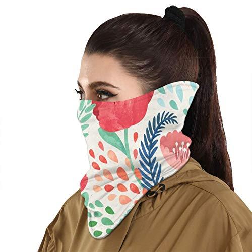 Bandanas de protección solar acuarela carmesí amapola floral cara bufanda cubierta máscara cuello polaina con 2 filtros