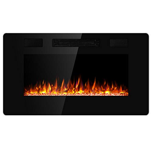 JAMFLY 50 Inch Wall Mounted and Recessed Electric Fireplace Insert, Ultra-Thin Lightweight LED Fireplace Heater, Adjustable Flame LED Colors, Remote Control, Touch Screen, Timer(Low Noise)