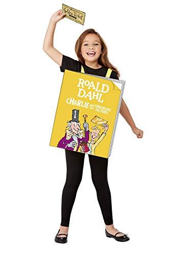 Smiffys Libro de Roald Dahl Charlie and The Chocolate Factory 52455, unisex, amarillo, talla única