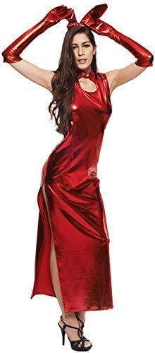 YBHNB Sexy Dessous Freche Frau Offener Schritt Gold Latex Große Größe Dessous Sexy Große Größe Freche Frau Von Erotischen Open Night Dress Lingerie,Red,L