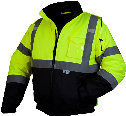 Pyramex RJ3210L RJ32 Series Jackets Hi-Vis Lime Bomber Jacket with Quilted Lining - Size Large