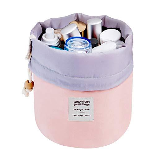 Travel Cosmetic Bags Make up Bag Organizer Men Women Hanging Toiletry Bags Wash Bags Large Capacity Drawstring Makeup Bag Blue + Small Pouch + Clear PVC Brush Bag (Pink)