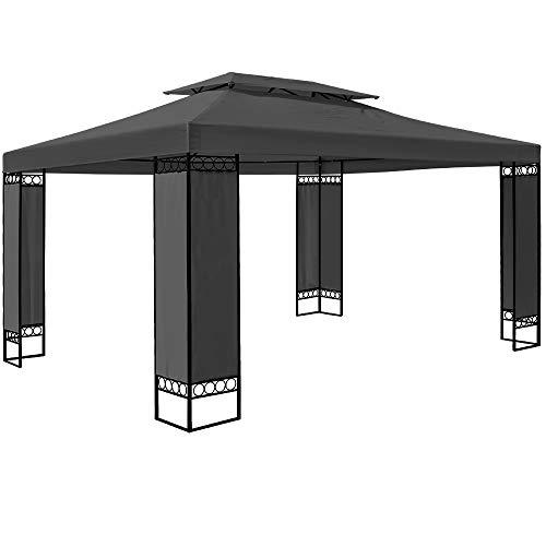 Deuba Pavillon Elda 3x4m Seitenwände Metall Gestell Eckig 12m² Festzelt Partyzelt Gartenlaube Gartenzelt Gartenpavillon Anthrazit