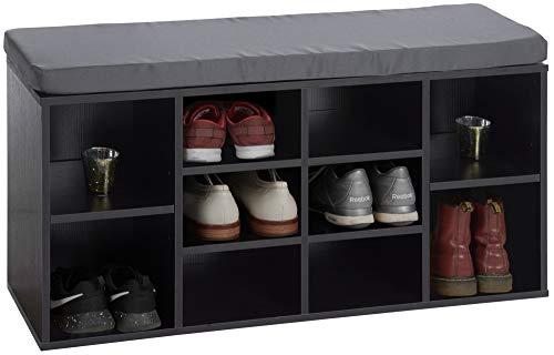 ts-ideen Flurbank Schuhschrank Kommode Bad Flur Diele Standregal Schuhregal und Sitzbank in Schwarz mit Holzoptik 103,5 x 54 cm