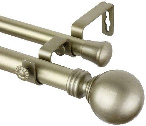 "Rod Desyne 1"" Globe Double Curtain Rod, 48-84 inch, Light Gold"