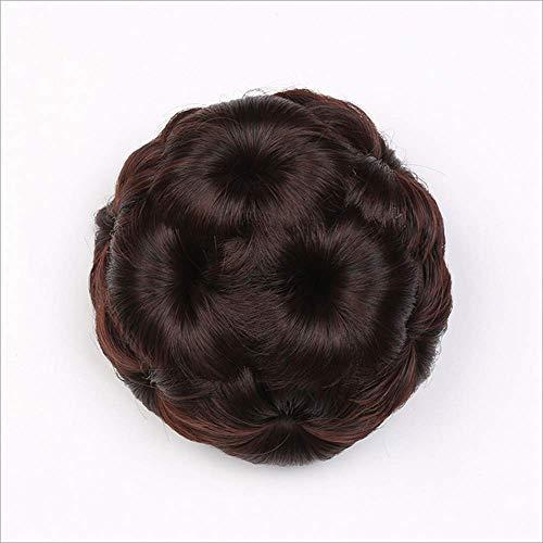 LYHD Scrunchie Kunsthaar Chignon Brötchen Donut Hochsteckfrisur Geflochtene Haarteile Clip in Haarbrötchen für Frauen Mädchen, Darkbrown