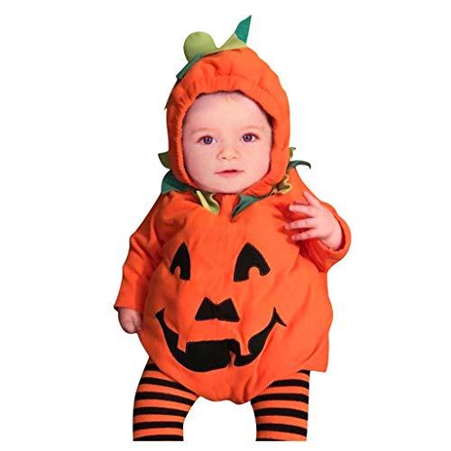 FRAUIT Halloween Costume Zucca Bimbo Tutina Tutine Neonato Invernali Cotone Halloween Neonata Pagliaccetto Body Vestito Halloween Neonati Bambina Completo Bambino Ragazze (6-12 Mesi, Arancio 6)