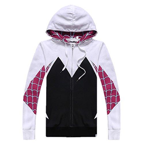 Alwoe Unisex Adult 3D Clothing Gwen Spider Cosplay Zipper Hooded Sweatshirt Black Large