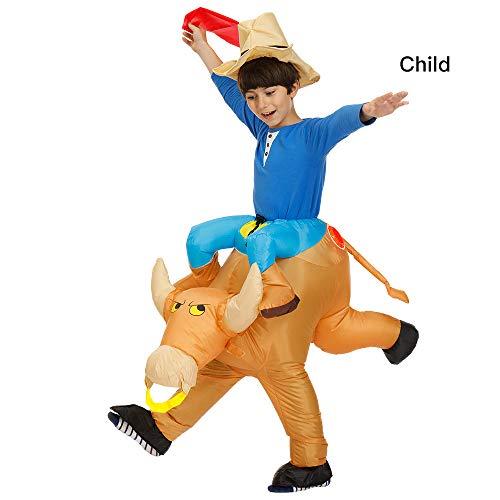 Disfraz hinchable de ganado de Grandlin, para Halloween, fiesta de Halloween, cosplay, accesorios para niños y adultos, Tela., Niños, 120-140cm/4-4.6ft