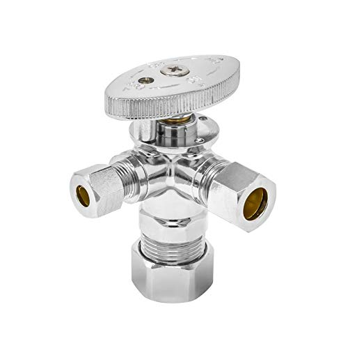 MIIFLEX 5/8 inch OD(Inlet) x 3/8 inch OD(Outlet) x 3/8 inch OD(Outlet) Lead Free 1/4 Turn 4 Way Dual Outlet Angle Stop Valve, All Compression (Click in for more size options)