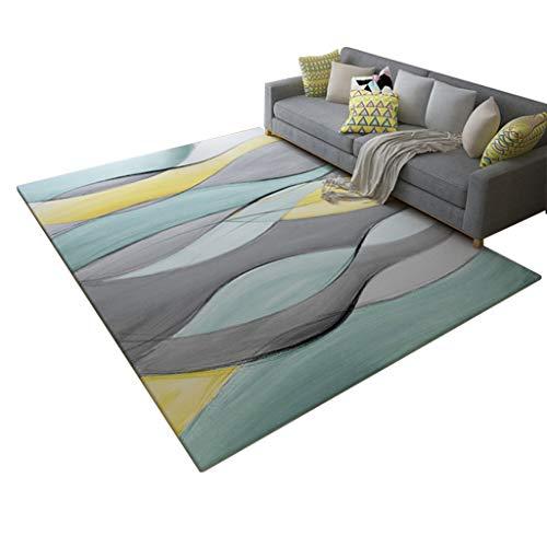 Brilliant firm Teppiche Teppich-Wohnzimmer-abstrakte Kunst-Tee-Tabellen-Schlafzimmer-Teppich-volle Nachtmatte-Haushalts-rechteckiger Teppich (Color : Blue, Size : 120 * 160CM)