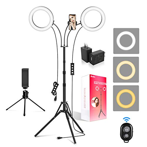 Ring Light with Tripod Stand and 2 Phone Holders, iMartine 8