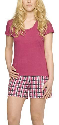Damen-Pyjama sommerlicher Schlafanzug kurz leichte Baumwolle Trend Grösse 40-42/M, Pink