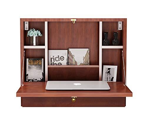 DREAMADE Wandschreibtisch Klappbar, Wandtisch aus Holz, Schreibtisch mit Schublade & 6 Fächern, Hängender Arbeitstisch Wandschrank mit Belastbarkeit max. 20kg (Braun)
