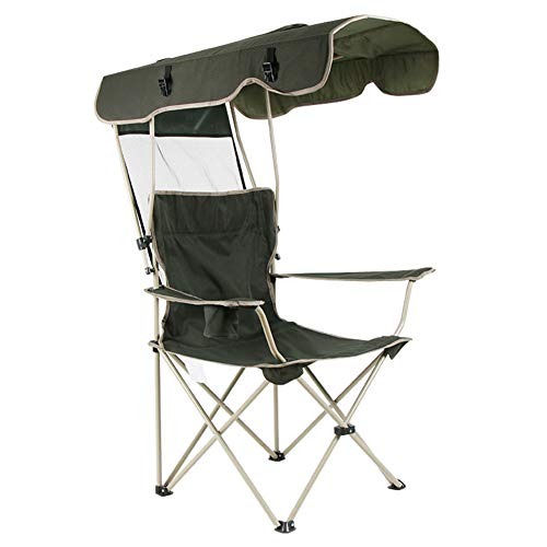 Portable and Durable Folding Beach Chair with Shade Canopy and Cup Holder, Breathable Comfortable...