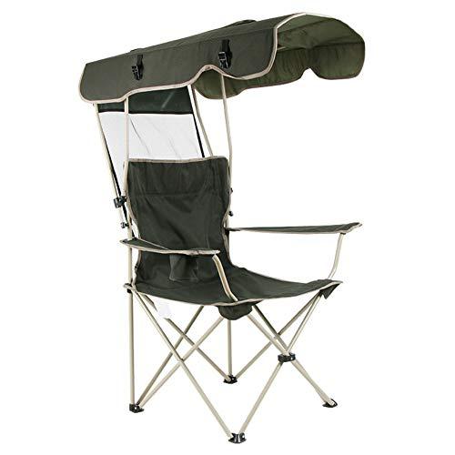 APXZC Draagbare en duurzame opvouwbare strandstoel met zonneklep en bekerhouder, ademend, comfortabel, robuust, scheurvast, voor picknick camping vissen