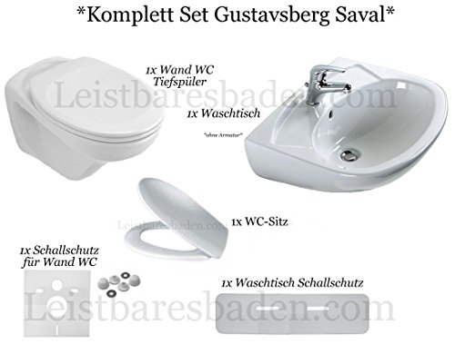Gustavsberg Saval *KOMPLETT Set Wand WC Sitz Waschtisch 55 cm Farbe Weiss