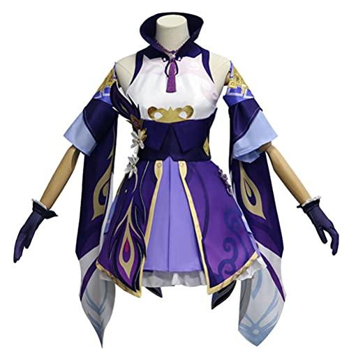 YLJXXY Disfraz de Cosplay Genshin Impact Keqing, Disfraz de Anime, Disfraz de Cosplay, Disfraz de Fiesta de Navidad, Conjunto Completo para niñas y Mujeres